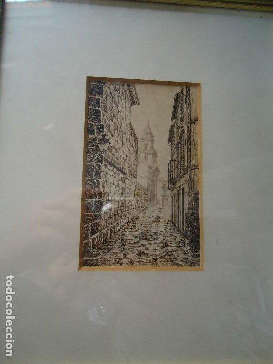 Arte: preciosa tinta CALLE DE SANTIAGO de BROCOS maravillosa tintas del famoso pintor Brocos mide 14 x 9 - Foto 2 - 211775537