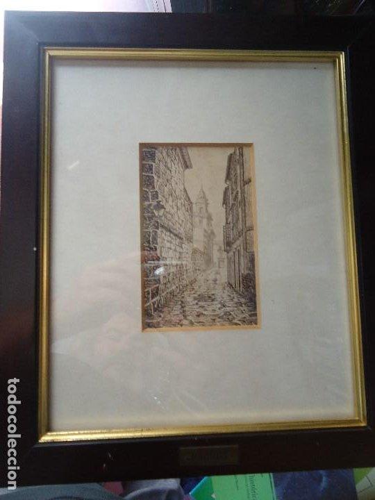 Arte: preciosa tinta CALLE DE SANTIAGO de BROCOS maravillosa tintas del famoso pintor Brocos mide 14 x 9 - Foto 3 - 211775537