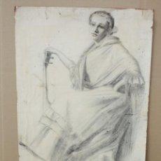 Art: ANONIMO. DIBUJO A CARBON. MUJER CON GUITARRA. Lote 212182372