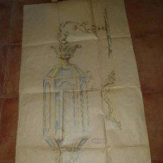 Art: FAROL COLGANTE, DIBUJO BOCETO DE MUEBLES MALDONADO, TAMAÑO NATURAL, 121 X 65 CM.. Lote 212416768