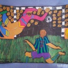 Arte: ESCENA DE FÚTBOL - TIZA SOBRE PAPEL DE FIRMADO DOMMHIKI ISTVH'N - 28 III 1998. Lote 212425425
