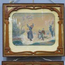 Arte: PAREJA DE CUADROS CON ORIGINAL ESCENA DE FAMILIA RECOGIENDO LEÑA. HACIA 1890. Lote 212464592