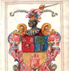 Arte: BELLISIMO DIBUJO HERALDICO. SIGLO XVIII. ACUARELADO CON LAPIZ Y TINTA ORO. EN PERGAMINO. Lote 212484746