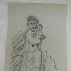 Arte: DIBUJO ORIGINAL : MUJER CON NIÑO. LUQUE MANUEL FERNÁNDEZ (ÉCIJA 1919 - VALENCIA 2005). Lote 212523922