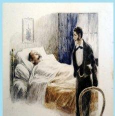 Arte: SIGLO XIX.- DIBUJO SOBRE CARTULINA A PLUMILLA Y COLOREADO - LA MUERTE - MED.:25X 18 CM.. Lote 212602436