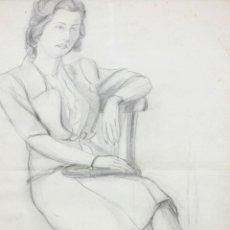 Arte: ARTUR CARBONELL I CARBONELL (SITGES, 1906 - 1973) DIBUJO LAPIZ FECHADO DL AÑO 1950. RETRATO FEMENINO. Lote 212609035