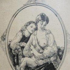 Arte: MATERNIDAD. DIBUJO A TINTA Y LAPIZ. GRAN CALIDAD. SIGLO XIX. 14 X 11 CM. INACABADO. Lote 212959978