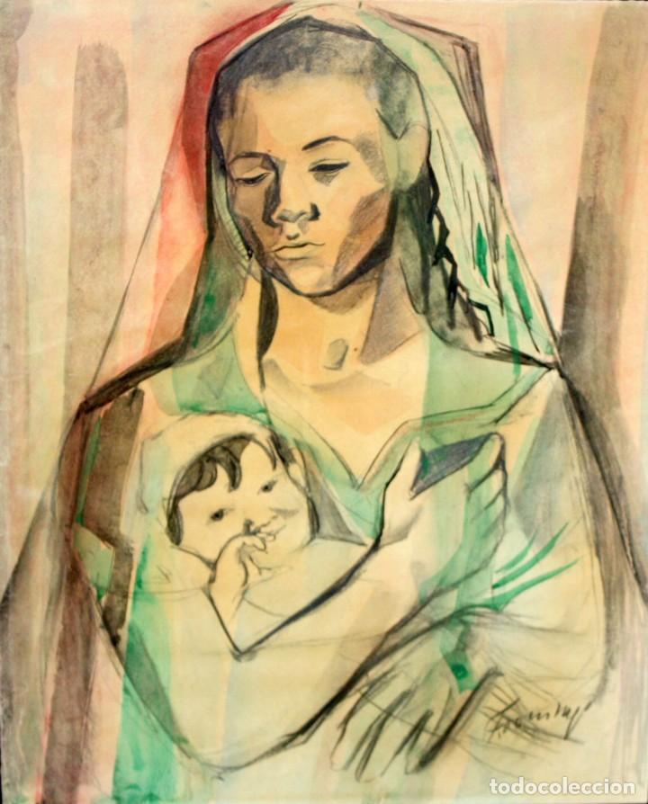 FRANCESC DOMINGO SEGURA (1895 - 1974) TECNICA MIXTA SOBRE PAPEL. MATERNIDAD (Arte - Dibujos - Contemporáneos siglo XX)