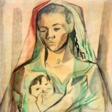 Arte: FRANCESC DOMINGO SEGURA (1895 - 1974) TECNICA MIXTA SOBRE PAPEL. MATERNIDAD. Lote 213130343
