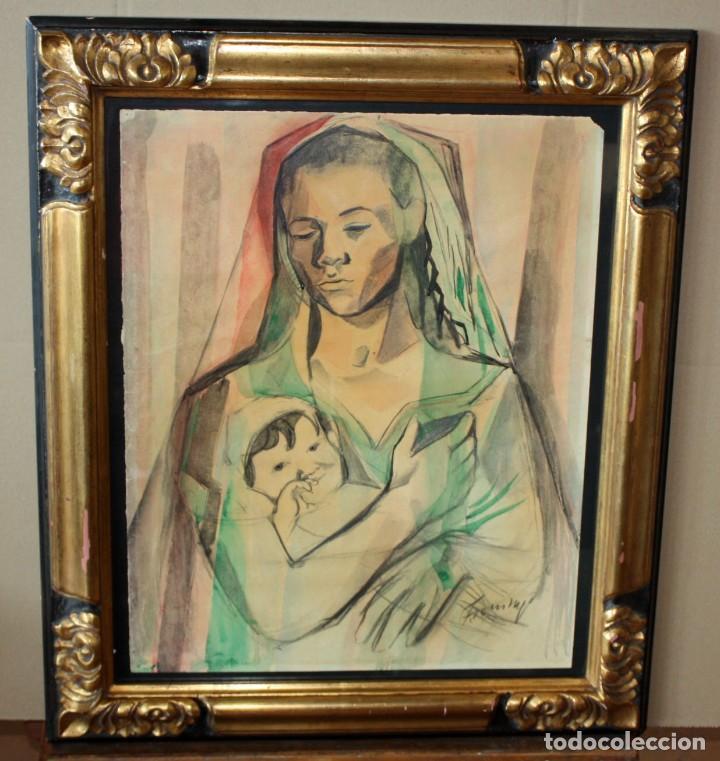 Arte: FRANCESC DOMINGO SEGURA (1895 - 1974) TECNICA MIXTA SOBRE PAPEL. MATERNIDAD - Foto 2 - 213130343