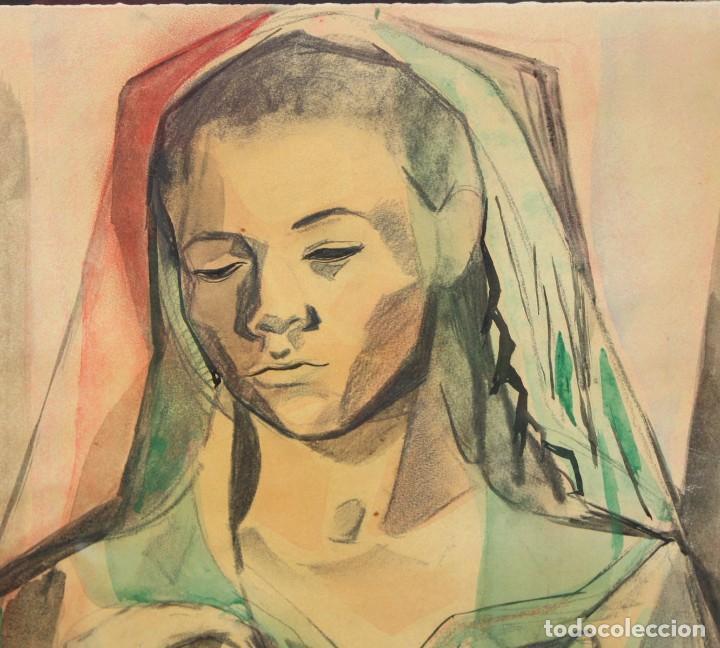 Arte: FRANCESC DOMINGO SEGURA (1895 - 1974) TECNICA MIXTA SOBRE PAPEL. MATERNIDAD - Foto 3 - 213130343