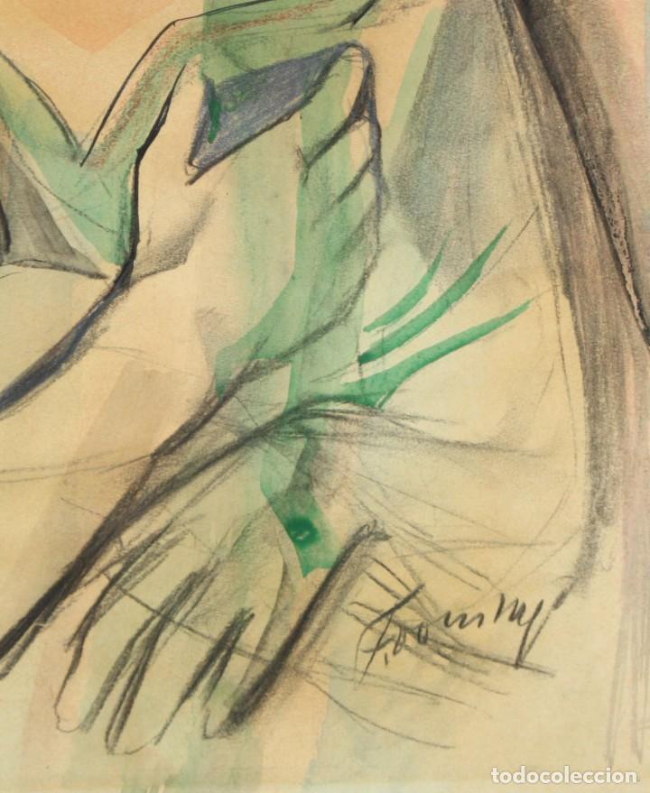 Arte: FRANCESC DOMINGO SEGURA (1895 - 1974) TECNICA MIXTA SOBRE PAPEL. MATERNIDAD - Foto 4 - 213130343