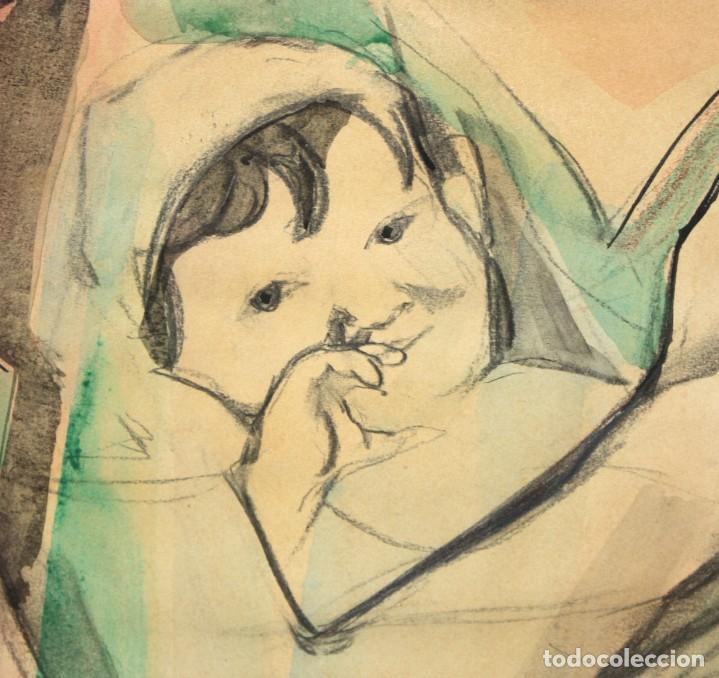 Arte: FRANCESC DOMINGO SEGURA (1895 - 1974) TECNICA MIXTA SOBRE PAPEL. MATERNIDAD - Foto 5 - 213130343