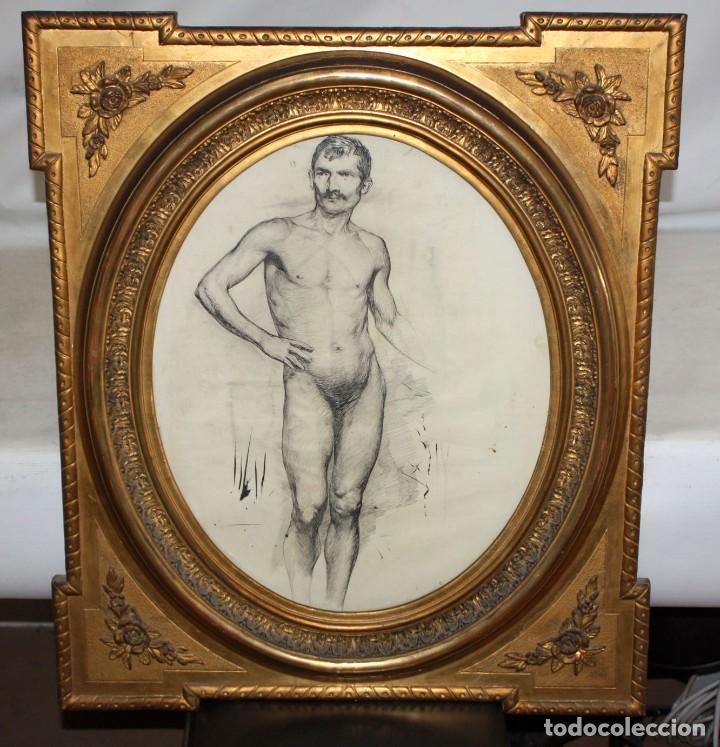 ANONIMO DE LA 2ª MITAD DEL SIGLO XIX. DIBUJO A DOBLE CARA CON ENCUADERNACION ISABELINA (Arte - Dibujos - Modernos siglo XIX)