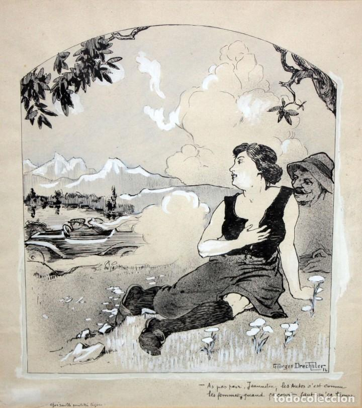 GEORGES DRECHSLER (FRANCIA, ACT. PRINC. SG. XX) TECNICA MIXTA SOBRE PAPEL DEL AÑO 1914 (Arte - Dibujos - Contemporáneos siglo XX)