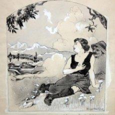 Arte: GEORGES DRECHSLER (FRANCIA, ACT. PRINC. SG. XX) TECNICA MIXTA SOBRE PAPEL DEL AÑO 1914. Lote 213133778