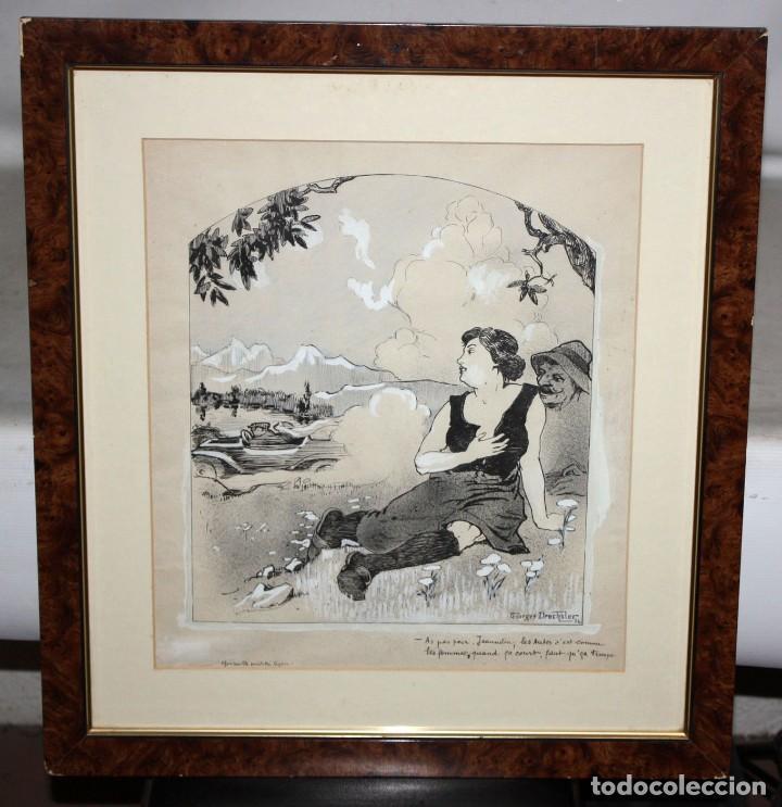 Arte: GEORGES DRECHSLER (Francia, Act. princ. Sg. xx) TECNICA MIXTA SOBRE PAPEL DEL AÑO 1914 - Foto 2 - 213133778