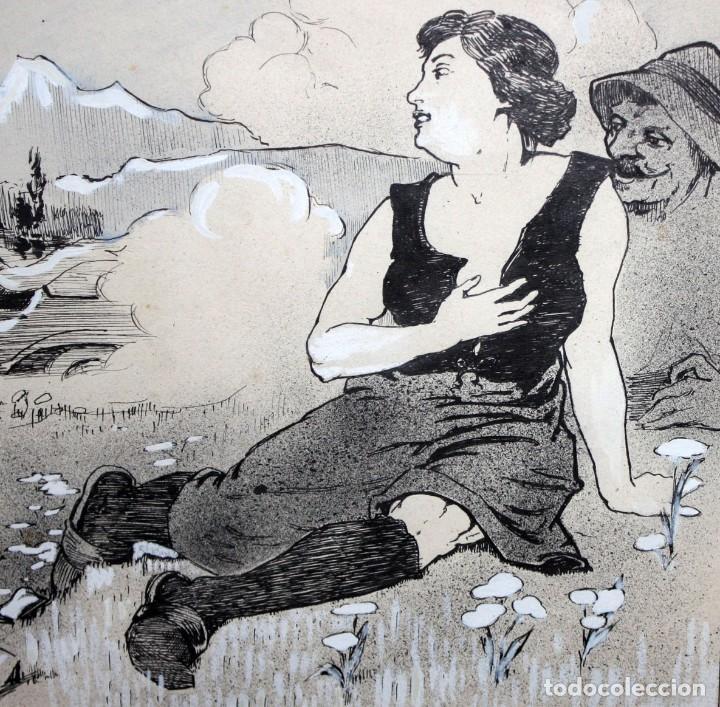 Arte: GEORGES DRECHSLER (Francia, Act. princ. Sg. xx) TECNICA MIXTA SOBRE PAPEL DEL AÑO 1914 - Foto 3 - 213133778