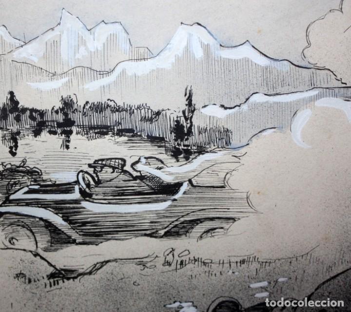 Arte: GEORGES DRECHSLER (Francia, Act. princ. Sg. xx) TECNICA MIXTA SOBRE PAPEL DEL AÑO 1914 - Foto 5 - 213133778