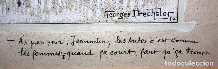 Arte: GEORGES DRECHSLER (Francia, Act. princ. Sg. xx) TECNICA MIXTA SOBRE PAPEL DEL AÑO 1914 - Foto 7 - 213133778