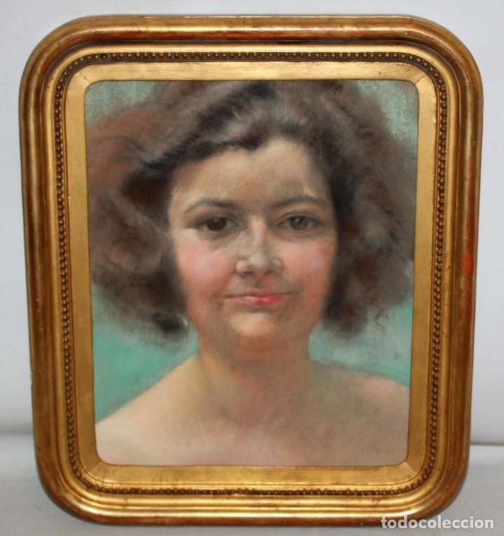 Arte: ANONIMO DE APROXIMADAMENTE 1940. DIBUJO A PASTEL. RETRATO FEMENINO - Foto 2 - 213255748