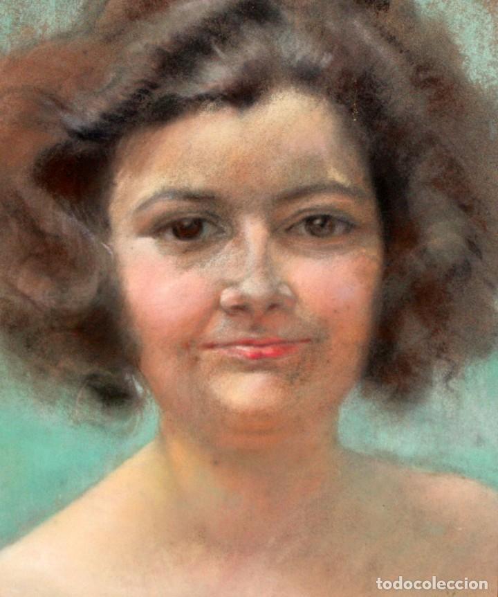 ANONIMO DE APROXIMADAMENTE 1940. DIBUJO A PASTEL. RETRATO FEMENINO (Arte - Dibujos - Contemporáneos siglo XX)