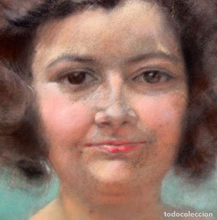 Arte: ANONIMO DE APROXIMADAMENTE 1940. DIBUJO A PASTEL. RETRATO FEMENINO - Foto 3 - 213255748