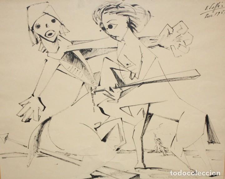 EVARIST VALLES (PIEROLA, BARCELONA, 1923) DIBUJO A TINTA DE AIRE SURREALISTA. FECHADO EN PARIS. 1951 (Arte - Dibujos - Contemporáneos siglo XX)