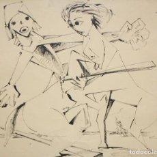Arte: EVARIST VALLES (PIEROLA, BARCELONA, 1923) DIBUJO A TINTA DE AIRE SURREALISTA. FECHADO EN PARIS. 1951. Lote 213257306