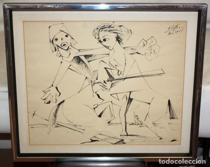 Arte: EVARIST VALLES (Pierola, Barcelona, 1923) DIBUJO A TINTA DE AIRE SURREALISTA. FECHADO EN PARIS. 1951 - Foto 2 - 213257306