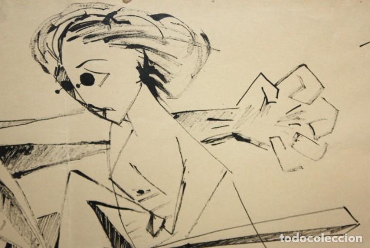 Arte: EVARIST VALLES (Pierola, Barcelona, 1923) DIBUJO A TINTA DE AIRE SURREALISTA. FECHADO EN PARIS. 1951 - Foto 4 - 213257306