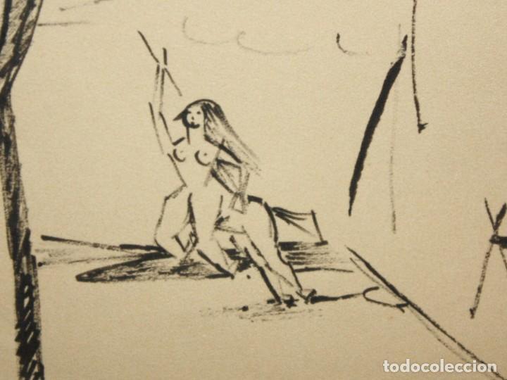 Arte: EVARIST VALLES (Pierola, Barcelona, 1923) DIBUJO A TINTA DE AIRE SURREALISTA. FECHADO EN PARIS. 1951 - Foto 5 - 213257306