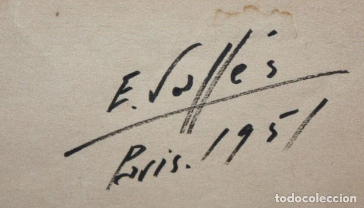 Arte: EVARIST VALLES (Pierola, Barcelona, 1923) DIBUJO A TINTA DE AIRE SURREALISTA. FECHADO EN PARIS. 1951 - Foto 7 - 213257306