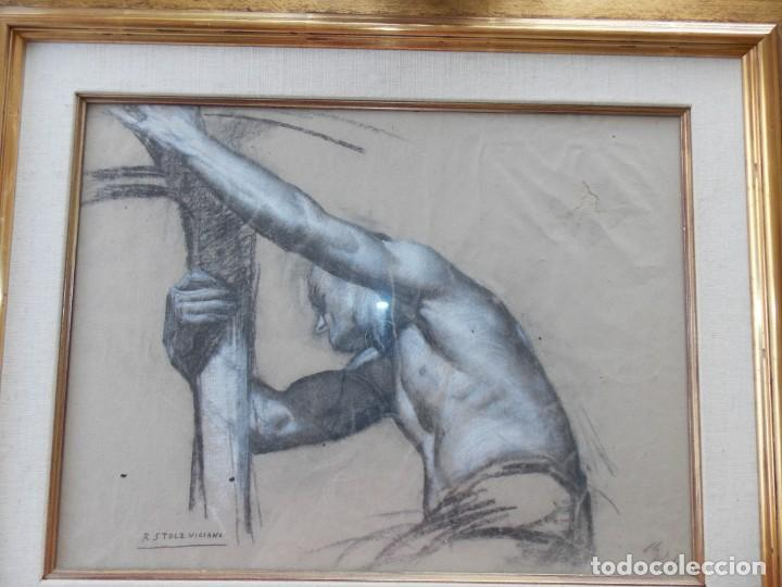 IMPRESIONANTE DIBUJO SOBRE PAPEL TORSO MASCULINO DE RAMON STOLZ VICIANO - CERTIFICADO - (Arte - Dibujos - Contemporáneos siglo XX)