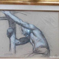 Arte: IMPRESIONANTE DIBUJO SOBRE PAPEL TORSO MASCULINO DE RAMON STOLZ VICIANO - CERTIFICADO -. Lote 213372506