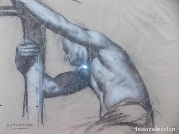 Arte: IMPRESIONANTE DIBUJO SOBRE PAPEL TORSO MASCULINO DE RAMON STOLZ VICIANO - CERTIFICADO - - Foto 2 - 213372506