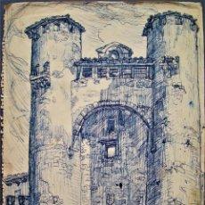 Arte: DIBUJO ALCAZAR DE SIGÜENZA,GUADALAJARA POR EL PINTOR ARAGONÉS MANUEL LAHOZ.. Lote 213381656