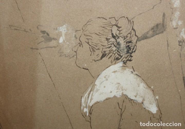 Arte: ANONIMO DE FINALES DEL SIGLO XIX. DIBUJO A TINTA CON TOQUES DE CLARION. - Foto 3 - 213495326