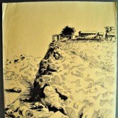 Arte: LEGIÓN.DIBUJO PLUMILLA 1933 RIFFIEN ,LA CONDESA,DESTACAMENTO AMETRALLADORAS.ÁFRICA,GUERRA ESPAÑOLA.. Lote 213652858