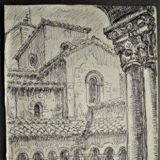 Arte: ARQUITECTURA CLAUSTRO ROMÁNICO POR MANUEL LAHOZ VALLE.PINTOR Y GRABADOR ARAGONÉS.. Lote 213653853