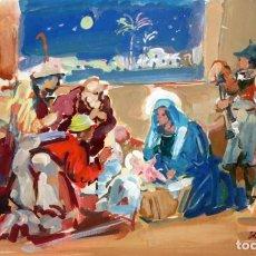 Arte: JULIÁN GRAU SANTOS (CANFRANC, HUESCA, 1937) GOUACHE SOBRE PAPEL. AÑO 1976. ADORANDO AL NIÑO JESUS. Lote 213684400