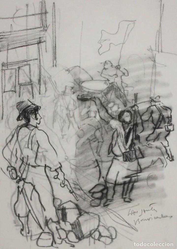 JULIÁN GRAU SANTOS (CANFRANC, HUESCA, 1937) TECNICA MIXTA SOBRE PAPEL. TITULADO BARRICADAS (Arte - Dibujos - Contemporáneos siglo XX)