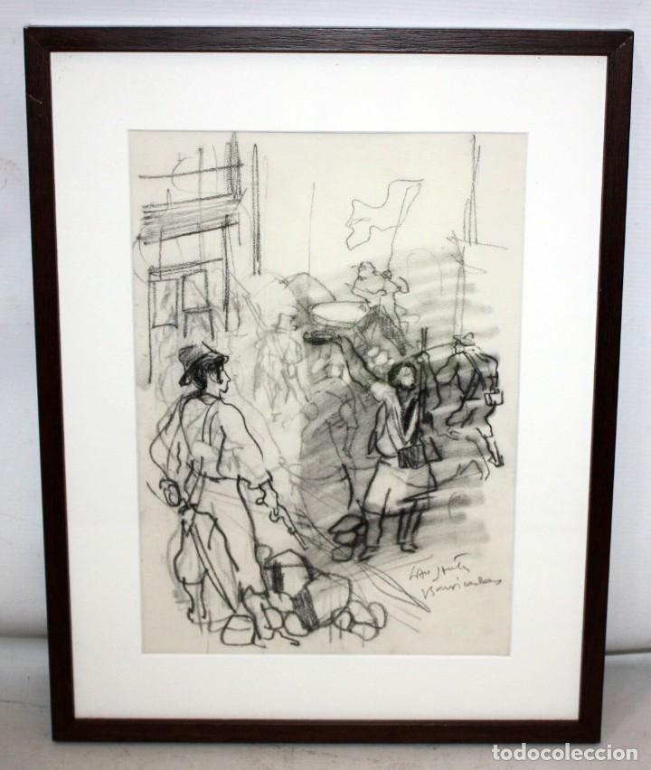 Arte: JULIÁN GRAU SANTOS (Canfranc, Huesca, 1937) TECNICA MIXTA SOBRE PAPEL. TITULADO BARRICADAS - Foto 2 - 213684600