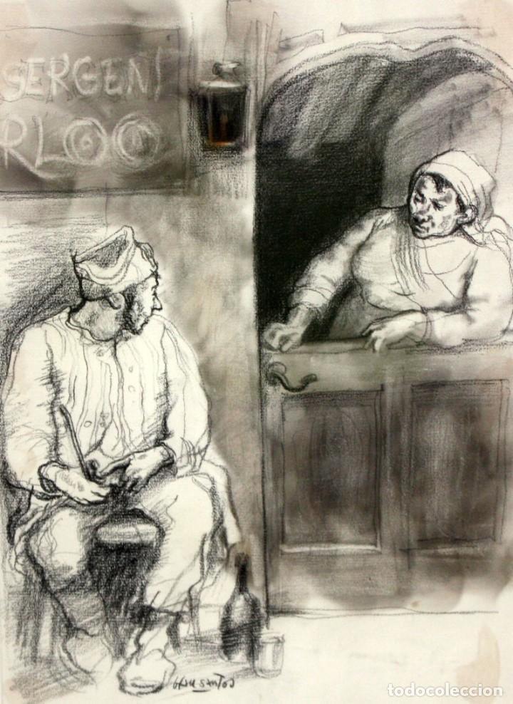 JULIÁN GRAU SANTOS (CANFRANC, HUESCA, 1937) TECNICA MIXTA SOBRE PAPEL. AÑOS 70 (Arte - Dibujos - Contemporáneos siglo XX)