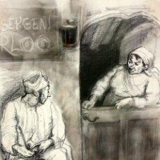 Arte: JULIÁN GRAU SANTOS (CANFRANC, HUESCA, 1937) TECNICA MIXTA SOBRE PAPEL. AÑOS 70. Lote 213684881