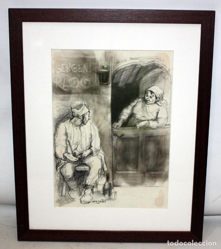 Arte: JULIÁN GRAU SANTOS (Canfranc, Huesca, 1937) TECNICA MIXTA SOBRE PAPEL. AÑOS 70 - Foto 2 - 213684881
