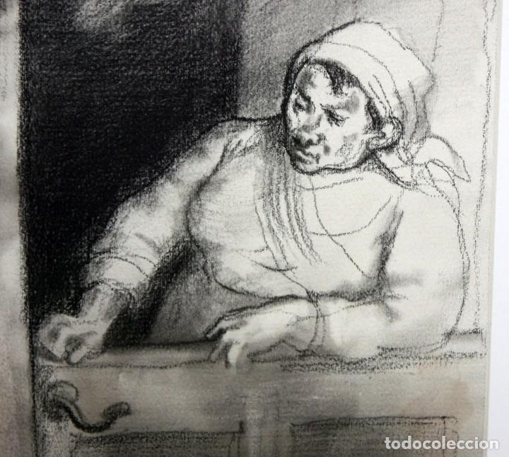 Arte: JULIÁN GRAU SANTOS (Canfranc, Huesca, 1937) TECNICA MIXTA SOBRE PAPEL. AÑOS 70 - Foto 5 - 213684881