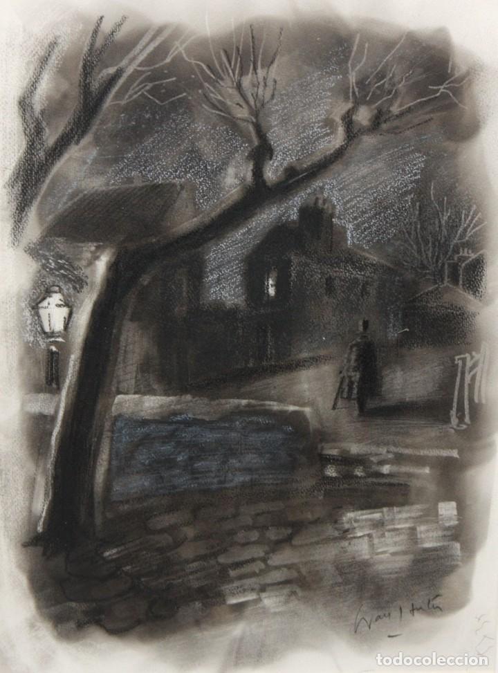 JULIÁN GRAU SANTOS (CANFRANC, HUESCA, 1937) TECNICA MIXTA SOBRE PAPEL. PAISAJE NOCTURNO (Arte - Dibujos - Contemporáneos siglo XX)