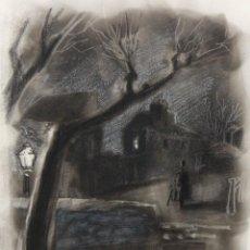 Arte: JULIÁN GRAU SANTOS (CANFRANC, HUESCA, 1937) TECNICA MIXTA SOBRE PAPEL. PAISAJE NOCTURNO. Lote 213685077