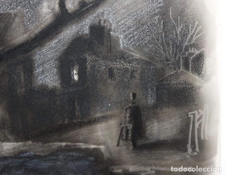 Arte: JULIÁN GRAU SANTOS (Canfranc, Huesca, 1937) TECNICA MIXTA SOBRE PAPEL. PAISAJE NOCTURNO - Foto 3 - 213685077